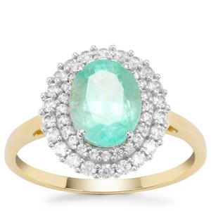 Malysheva Emerald Ring with White Zircon in 9K Gold 2.45cts