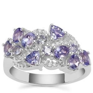 Tanzanite Ring with White Zircon in Sterling Silver 1.77cts