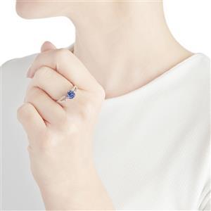 AA Tanzanite & Diamond 10K White Gold Ring ATGW 1.18cts