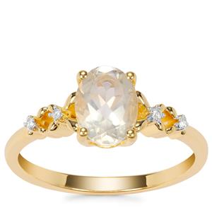 Serenite Ring with White Zircon in Gold Plated Sterling Silver 1.20cts