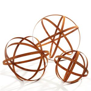 Set Of 3 Iron Rusted Finish Sphere Band Ball Garden Decorations