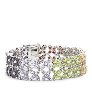 29.18ct Rainbow Gemstones Sterling Silver VIBGYOR Bracelet