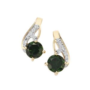 Chrome Tourmaline & Diamond 9K Gold Earrings ATGW 1cts