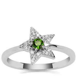 Chrome Diopside Star Ring with White Zircon in Sterling Silver 0.22cts
