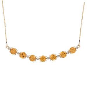 Mandarin Garnet & Diamond 9K Gold Tomas Rae Necklace ATGW 4.76cts