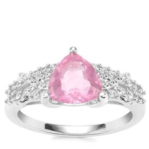 Natural Pink Fluorite Ring with White Zircon in Sterling Silver 2.43cts