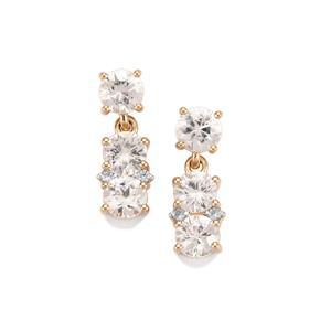 Singida Tanzanian Zircon Earrings with White Zircon in 10k Gold 3.95cts