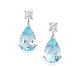 Sky Blue Topaz Earrings with White Topaz in Sterling Silver 7.55cts