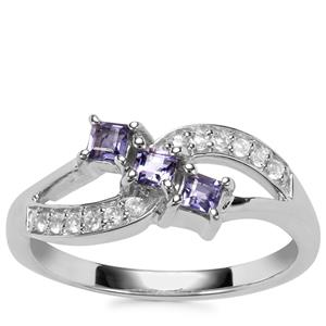 Bengal Iolite Ring with White Topaz in Sterling Silver 0.37ct