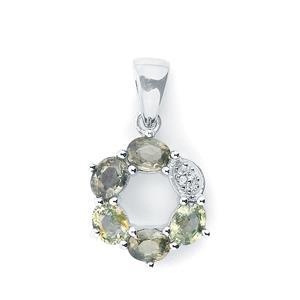 Tunduru Colour Change Sapphire & White Topaz Sterling Silver Pendant ATGW 1.66cts