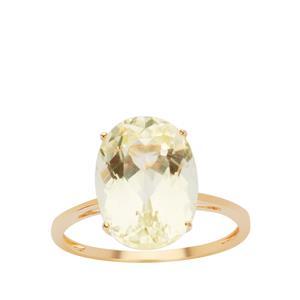 Pistachio Kunzite Ring in 9K Gold 7.63cts