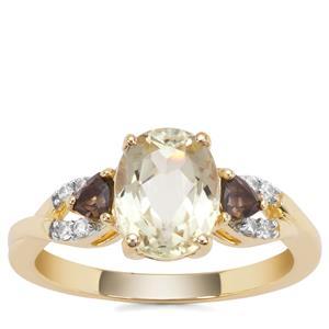 Minas Novas Hiddenite Ring with Smokey Quartz & White Zircon in 9K Gold 2.68cts