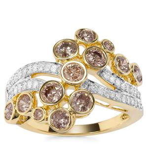 Champagne Ring with White Diamond in 9K Gold 1.65ct