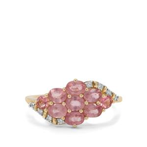 Padparadscha Sapphire, Kaffe Tourmaline Ring with White Zircon in 9K Gold 1.92cts