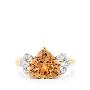 Oregon Sunstone Ring with Diamond in 18K Gold 2.83cts