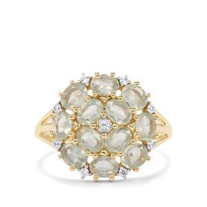 Alexandrite & White Zircon 9K Gold Ring ATGW 2.09cts