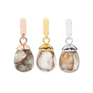 White Calcite With Copper Kama Charm in Sterling Silver 9.63cts