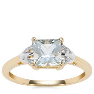 Pedra Azul Aquamarine Ring with Diamond in 9K Gold 1.09cts