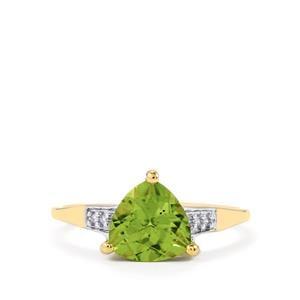Changbai Peridot & Diamond 10K Gold Ring ATGW 2cts