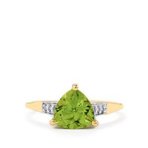 Changbai Peridot Ring with Diamond in 9K Gold 2cts