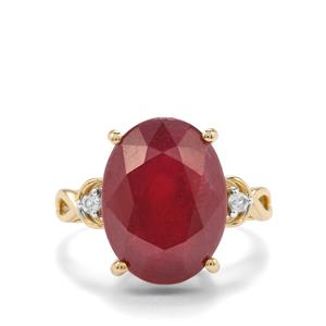 Malagasy Ruby Ring with White Zircon in 10K Gold 13.70cts (F)