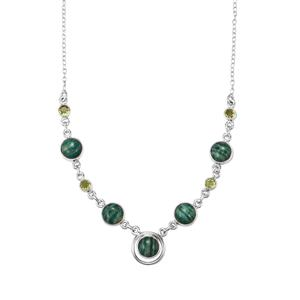 Amazonite Necklace with Changbai Peridot in Sterling Silver 21cts