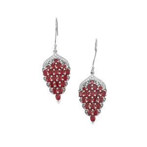 Malagasy Ruby & White Zircon Sterling Silver Earrings ATGW 9.97cts (F)