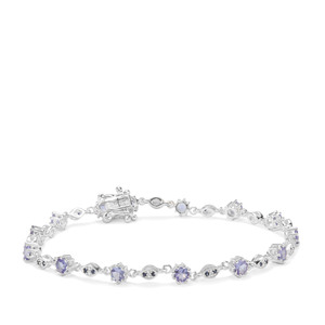 Tanzanite Bracelet with Blue Sapphire in Sterling Silver 2.67cts