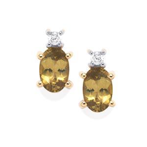 Brazilian Chrysoberyl Earrings with White Zircon in 10k Gold 1.10cts