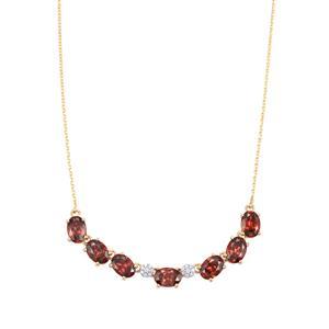Zanzibar Zircon Necklace with Diamond in 18K Gold 7.16cts