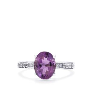 Zambian Amethyst & White Topaz Sterling Silver Ring ATGW 1.87cts