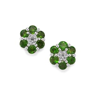 Chrome Diopside Earrings with White Topaz in Sterling Silver 1.21cts