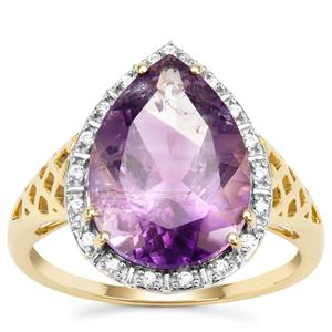 Boudi Hourglass Amethyst Ring with White Zircon in 9K Gold 4.85cts