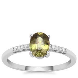 Namibian Demantoid Garnet Ring with Diamond in 9K White Gold 1.20cts