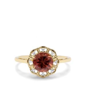 Singida Marsala Zircon & Diamond 9K Gold Ring ATGW 2.02cts