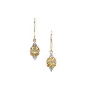 Brazilian Chrysoberyl Earrings with White Zircon in 9K Gold 1.14cts