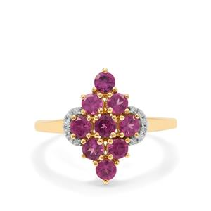 Comeria Garnet Ring with White Zircon in 9K Gold 1.45cts