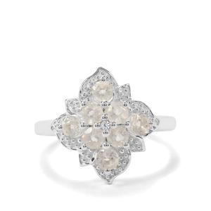 Plush Diamond Sunstone & White Zircon Sterling Silver Ring ATGW 0.89ct