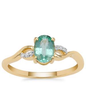 Malysheva Emerald Ring with Diamond in 9K Gold 0.65ct