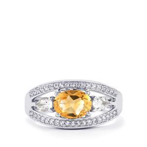Diamantina Citrine & White Topaz Sterling Silver Ring ATGW 1.78cts