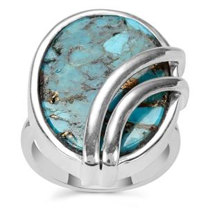 Blue Copper Mojave Turquoise Ring in Sterling Silver 14cts