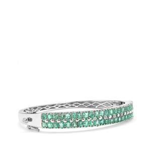 Zambian Emerald & Diamond Sterling Silver Oval Bangle ATGW 7.61cts