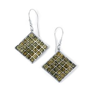 Baltic Green Amber Earrings  in Sterling Silver