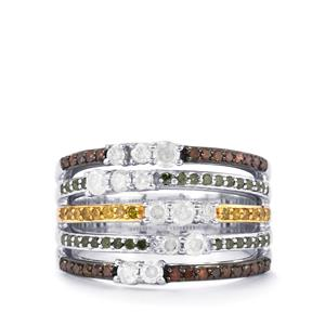 1ct Multi-Colour Diamond Sterling Silver Ring