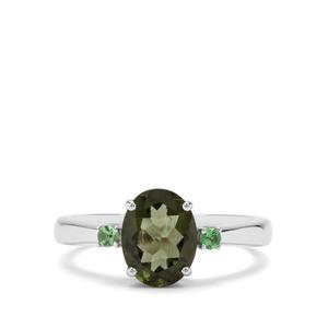 Moldavite & Tsavorite Garnet Sterling Silver Ring ATGW 1.52cts