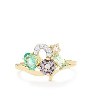 Harlequin Gems Ring in 10K Gold 1.58ct