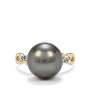 Tahitian Cultured Pearl & Diamond 10K Gold Ring (12 x 11mm)