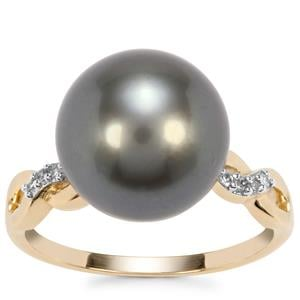 Tahitian Cultured Pearl Ring with Diamond in 10K Gold (12 x 11mm)