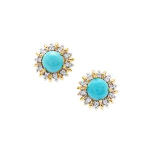 Sleeping Beauty Turquoise Earrings with White Zircon in Gold Plated Sterling Silver 0.72ct