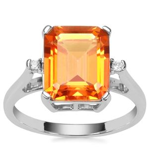 Padparadscha Colour Quartz Ring with White Zircon in Sterling Silver 4.31cts